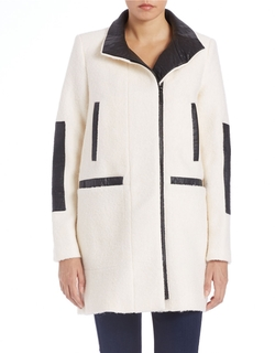 Vince Camuto - Leatherette-Trimmed Asymmetrical Coat