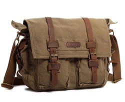 Kattee - Military Canvas Shoulder Messenger Bag Leather Strap