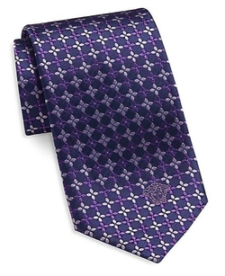 Versace  - Geometric Floral Silk Tie