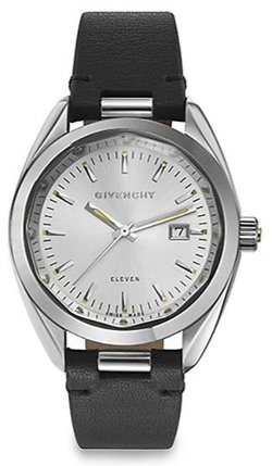 Givenchy  - Eleven Stainless Steel & Leather Strap Watch/Black