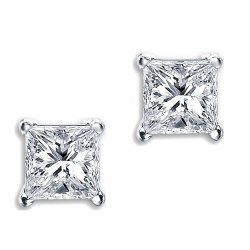 iJewelry2  - Princess Cut Square Basket Set Silver Unisex Stud Earrings