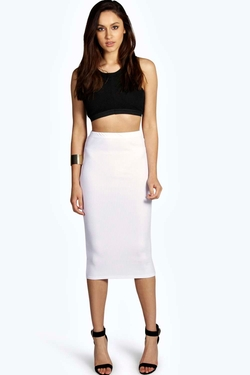 Boohoo - Tori Thick Rib Bodycon Midi Skirt