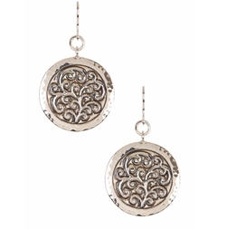 Lois Hill  - Sterling Silver Round Repousse Drop Earrings