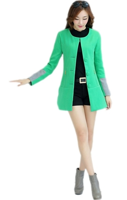 Alionz - Wool Blend Collarless A Line Outwear Coat