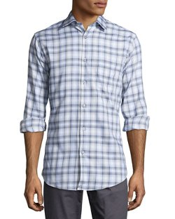 Neiman Marcus  - Trim-Fit Two-Tone Glen Plaid Sport Shirt