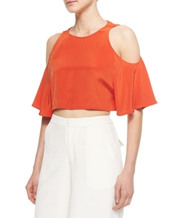 Elle Sasson - Teresa Cold-Shoulder Crop Top