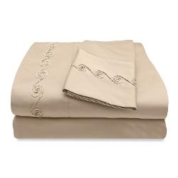 Veratex Supreme Sateen  - 300 Thread Count Chenille Swirl Embroidered Design Sheet Set