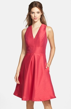 Alfred Sung - V-Neck Dupioni Cocktail Dress