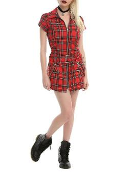 Hot Topic  - Red Plaid Strap Dress