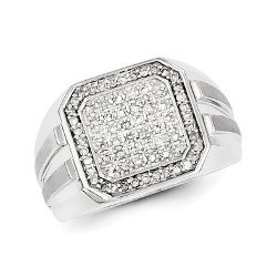 West Coast Jewelry - Sterling Silver Diamond Square Mens Ring