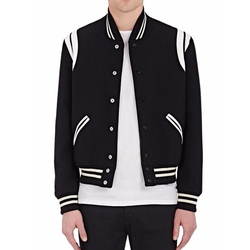 Saint Laurent - Classic Teddy Wool-Blend Varsity Jacket