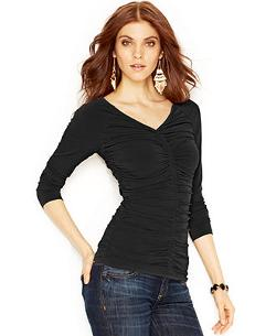 Guess - Long-Sleeve V-Neck Ruched Top