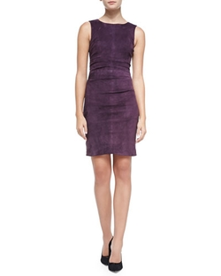 Nicole Miller Artelier - Sleeveless Suede Combo Sheath Dress