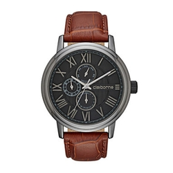 Claiborne - Croc-Look Leather Strap Watch