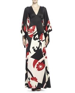 Alexander Mcqueen - Abstract Floral-Print Kimono Gown