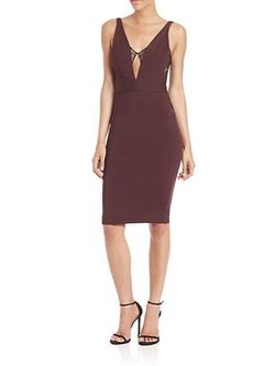 Noam Hanoch - Lace Contrast Sheath Dress