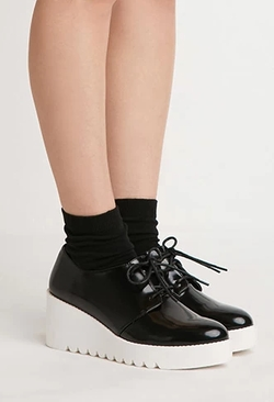 Forever 21 - Faux Leather Flatform Oxfords