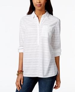 Tommy Hilfiger - Striped Roll-Tab-Sleeve Shirt