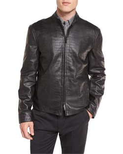 Armani Collezioni - Crocodile-Embossed Leather Bomber Jacket