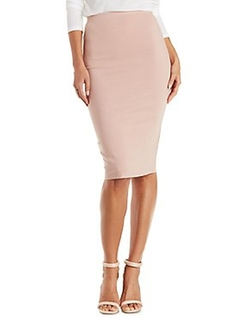 Charlotte Russe - Bodycon Ribbed Pencil Skirt