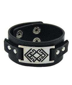 Romwe - Snap Leather Black Bracelet