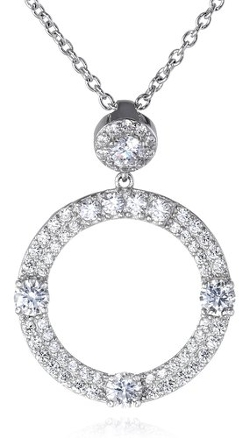 Charles Winston - Cubic Zirconia Circle Pendant Necklace