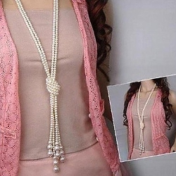 Jew Jewly  - Lureme Fashion Pearl Multilayer Tie Necklace