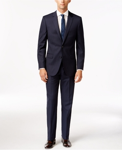 DKNY - Slim Fit Navy Tonal Plaid Notch Lapel Suit
