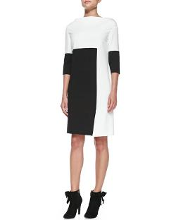 Rena Lange   - 3/4-Sleeve Colorblock Jersey Dress with Crisscross Hem