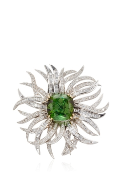 Fruzsina Keehn - Green Tourmaline Diamond Brooch