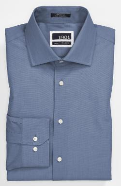 1901  - Solid End-on-End Cotton Trim Fit Dress Shirt