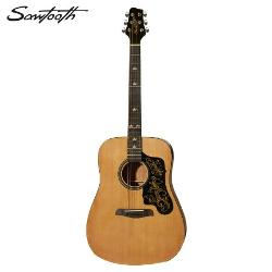 Sawtooth  - Acoustic Guitar with Black Pickguard & Custom Graphic