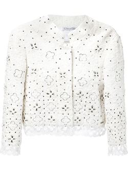 Oscar De La Renta - Embroidered Lace Cropped Jacket