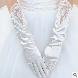 IDOBRIDAL - Satin Lace Sequined and Beading Elbow Bridal Wedding Party Opera Gloves