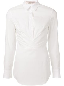 Lela Rose   - Wrap Button Blouse