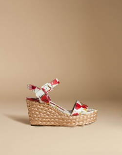 Dolce & Gabbana - Patent Sandal With Woven Raffia Wedge
