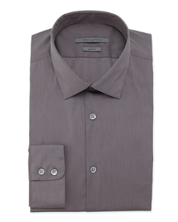 John Varvatos  - Slim-Fit Solid Poplin Dress Shirt