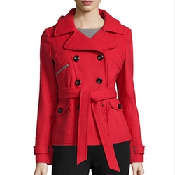 Marilyn & Me - Double-Breasted Belted Hooded Trench Coat