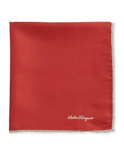 Salvatore Ferragamo	 - Silk-Twill Pocket Square, Red