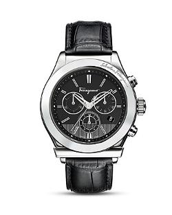 Salvatore Ferragamo  - Black Leather Strap Watch