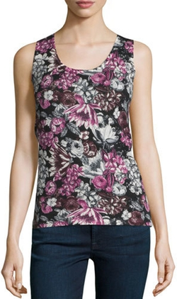 Neiman Marcus Cashmere Collection  - Superfine Orlag Floral Tank