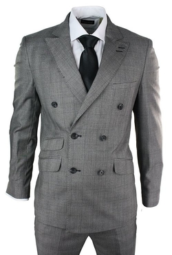 Voeut - Double Breasted Light Grey Check Suit