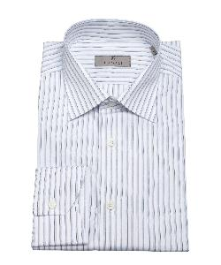 CANALI - Blue And White Stripe Print Cotton Spread Collar Dress Shirt