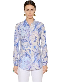 Etro - Paisley Stretch Cotton Poplin Shirt