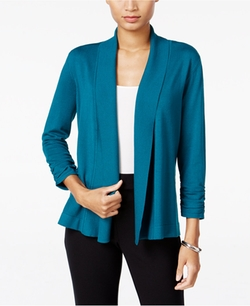 JM Collection  - Ruched Open-Front Cardigan