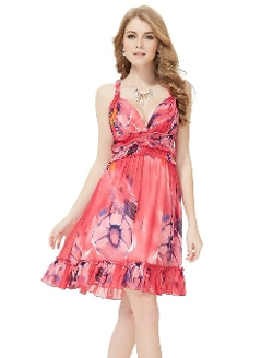 Ever-Pretty - Floral Printed Chiffon V-Neck Halter Dress