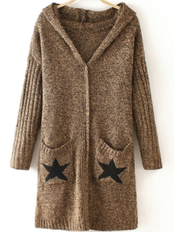 Romwe - Stars Print Pockets Coat