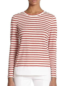 Tory Burch - Linen & Poplin-Hem Striped Pullover
