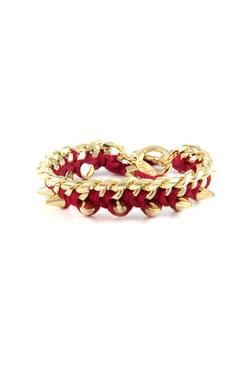 Ettika  - Thread Bracelet on Link Chain in Burgundy