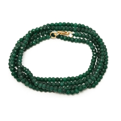 Gem Stone King - Green Dyed Emerald Beads Stretchy Necklace
